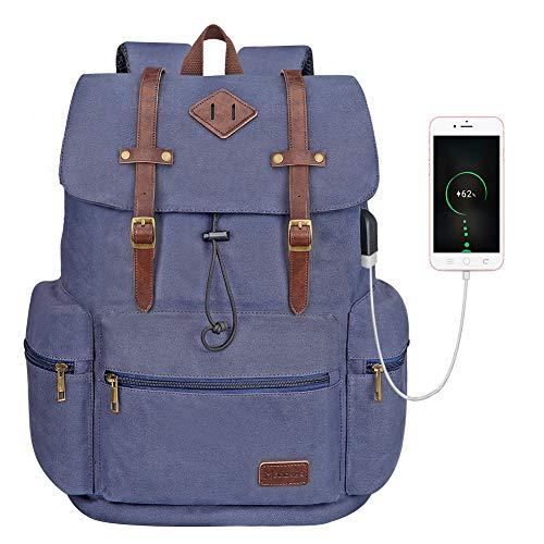 Canvas Leather Laptop Rucksack Backpack Vintage Bookbag for Women Men, Modoker Travel Laptop Backpack with USB Charging Port College School Bookbag ComputerBag VeganDaypack,Blue