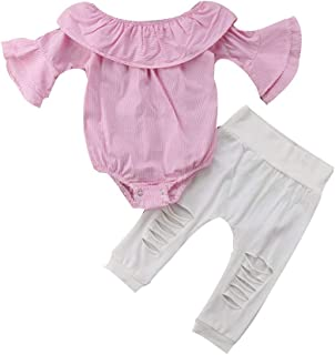 Jugendhj Toddler Infant Baby Girl Striped Tops Romper Ripped Pants Outfits Clothes Set