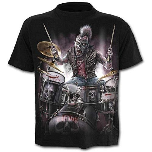 Camisa de Calavera - Camiseta - Camisa de Rock - música gótica de Metal - 3D - Manga Corta - Hombre - Unisex - Mujer - Divertido - niños - Cosplay - Disfraz - Talla XXL - c0y3 Metal Cosplay