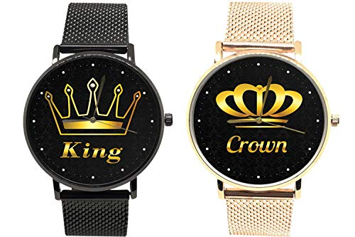 EREMITI JEWELS Orologio da Polso per di Coppia King Royal Queen Crown RE Regina Corona Maglia Milano Idea Regalo per San Valentino Fidanzamento (Black And Gold Rose Maglia Milano)