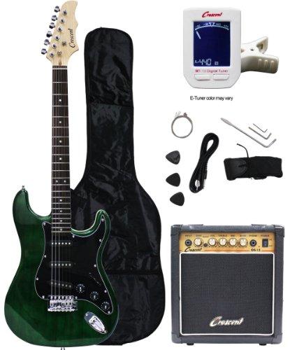 Crescent Electric Guitar Starter Kit - Greenburst Color (Includes Amp & CrescentTM Digital E-Tuner)