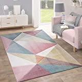 Alfombra Pelo Corto Tendencia Pastel Diseño Geométrico Inspiración Multicolor, tamaño:200x280 cm