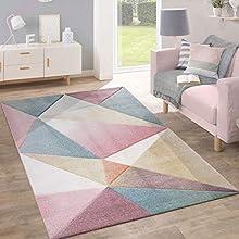 Alfombra Pelo Corto Tendencia Pastel Diseño Geométrico Inspiración Multicolor, tamaño:120x170 cm