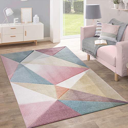 Paco Home Teppich Kurzflor Modern Trendig Pastell Geometrisches Design Inspiration Multi, Grösse:70x140 cm