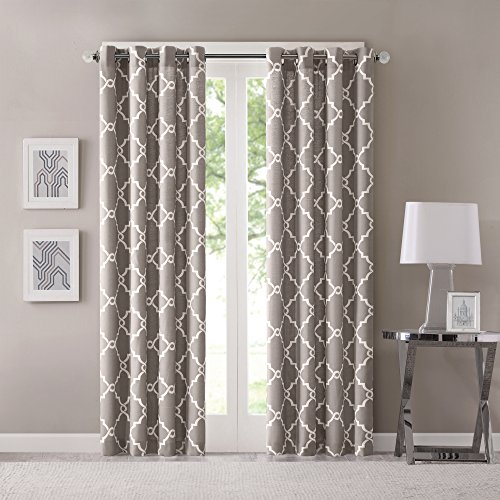 Madison Park Saratoga Window Curtain Light Filtering Fretwork Print 1 Panel Grommet Top Drapes/Valance for Living Room Bedroom and Dorm, 50x84, Grey