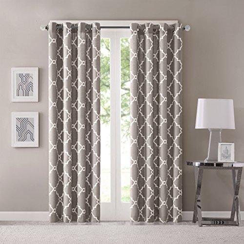 Madison Park Saratoga Window Curtain Light Filtering Fretwork Print 1 Panel Grommet Top Drapes/Valance for Living Room Bedroom and Dorm, 50x84, Grey