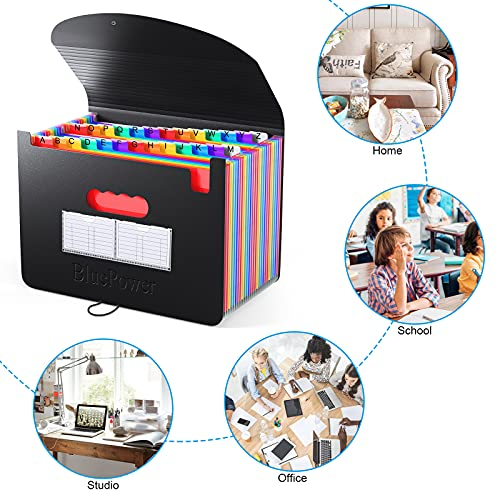 26 Pockets Accordian File Organizer, Expanding File Folder A4 Letter Size Expandable Filing Box, Accordion Document Organizer, Portable Paper Bill Receipt Plastic Folders with A-Z Alphabet Blank Tabs Photo #4