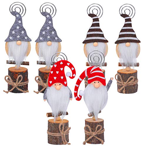 Set of 6 Christmas Swedish Tomte Card Holders- Xmas Plush Gnome Dolls Table Photo Holder in 4 Styles Wood Based Cartoon Clips for Memo Card Photo Xmas Table Display Deors Christmas Holiday Centerpiece