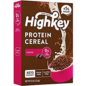 0g net carbs & sugar free cereal:HighKey protein cocoa cold cereal is a delicious diet-friendly cereal made with no artificial ingredients and no added sugars. This breakfast classic is perfect for dieters who no longer want to miss out on their fav...
