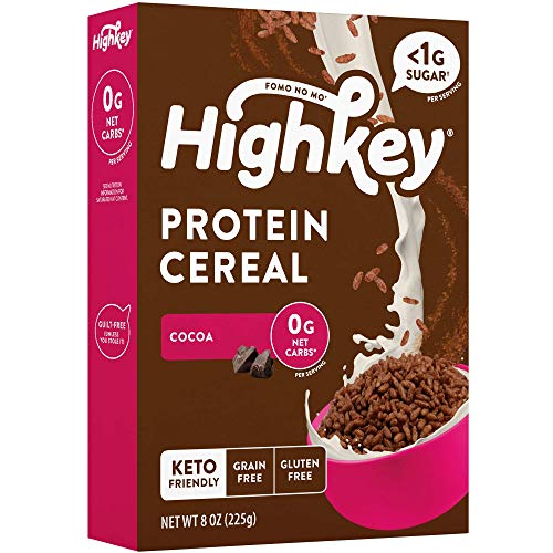 HighKey Low Carb Keto Cereal - Protein Snacks for Breakfast, Zero Sugar, Grain Carbs & Gluten Free Chocolate Cereals Healthy Snack Foods for Paleo Diabetic Ketogenic Diet Friendly Food Cocoa