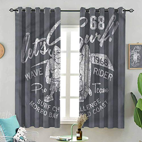 Sunshine blockout Curtain Gorilla Wave Rider Surfing W55 x L39 Inch (2 Panels) for Indoor Living Dining Room
