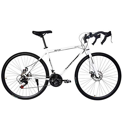 Road Bike for Men & Women,Aluminum Full Suspension Road Bike 21 Speed, Disc Brakes, 700c - City Commuter Bike Road Bike Outroad Bike - Outdoor Racing Cycling Outroad Commute (White)