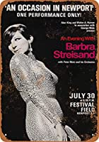 Shimaier 30×40cm 金属ブリキ看板ホーム装飾壁アート 1966 Barbra Streisand in Rhode Island