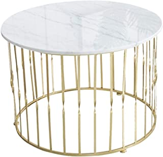 Lcxliga Round Coffee End Tables for Small Spaces, White Natural Marble Desk Top & Gold Metal Frame, Living Room Furniture ...