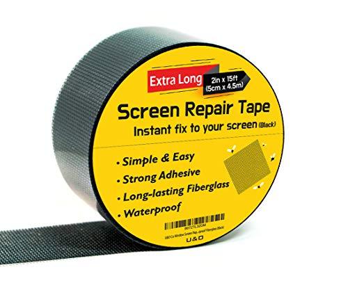 """Screen Repair kit. (Black) 2""""x180""""(15FT) Window Screen Repair Tape. Premium Strong Adhesive"""