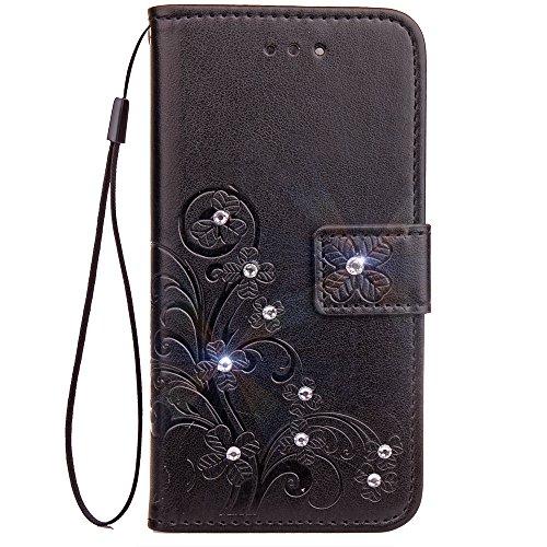 Lomogo LG K8 K350N / K7 X210 Hülle Leder, Schutzhülle Brieftasche mit Kartenfach Klappbar Magnetisch Stoßfest Handyhülle Case für LG K8 / LG K7 - LOSDA081078 Schwarz