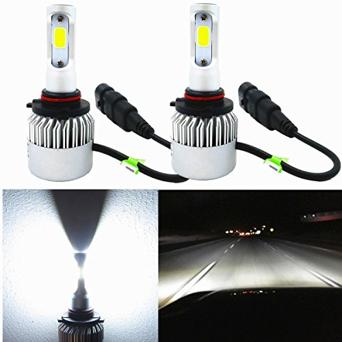 Alla Lighting HB3 9005 LED Headlights Bulbs Replacement Extreme Super Bright COB 6000K ~ 6500K Xenon White 8000 Lumens High or Low Beam Conversion Kit DRL, Set of 2