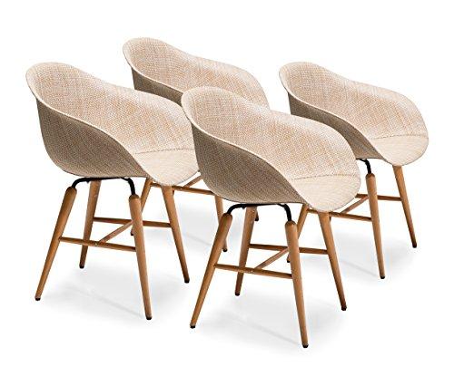 Kare Design Forum Wood Natural 4er Set, moderner Esszimmerstuhl im Retro-Design mit Armlehne, Beige (H/B/T) 79x60,5x53cm