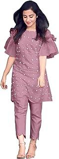 HAVIYA Women's Cotton Readymade Salwar Suit (LF-Moti Pink -S_Pink_Small)