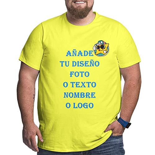 Camiseta Personalizada con Foto para Hombre con Cuello Redondo Plus Manga Corta de Algodón (Amarillo,5XL)