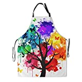 Colorful Painting Artist Apron with 2 Pockets Rainbow Tree Art Aprons for Women Men Adult Waterproof Butterfly Painter Kitchen Bibs for Chef Cooking Gardening Grilling BBQ