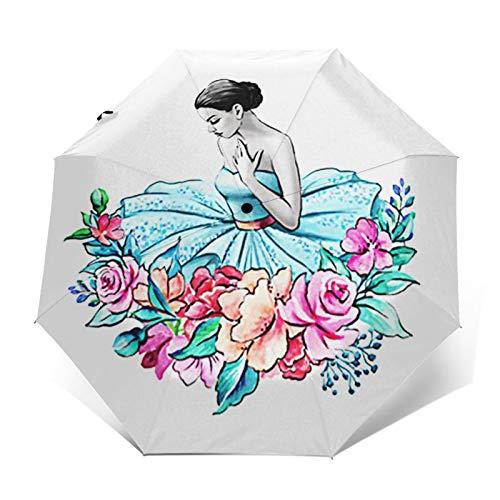 Regenschirm Taschenschirm Kompakter Falt-Regenschirm, Winddichter, Auf-Zu-Automatik, Verstärktes Dach, Ergonomischer Griff, Schirm-Tasche, Ballerina 21
