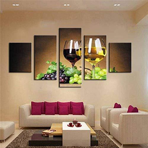 Wslin canvas prints decoratie 5 stuks wijn kopjes schildersdoek olieverfschilderij op muurkunst voor woonkamer druk decor voordelige moderne afdrukken op canvas 200X100cm