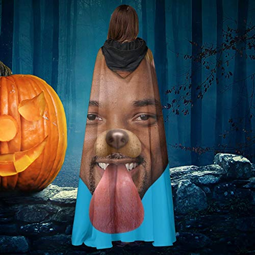 AISFGBJ Will Smith - Capa de Disfraz Unisex con Capucha, diseo de Perro Snapchat, para Halloween, Bruja y Caballero