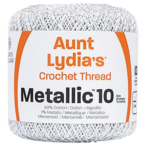 Coats Crochet Metallic Crochet Thread, 10, White/Silver