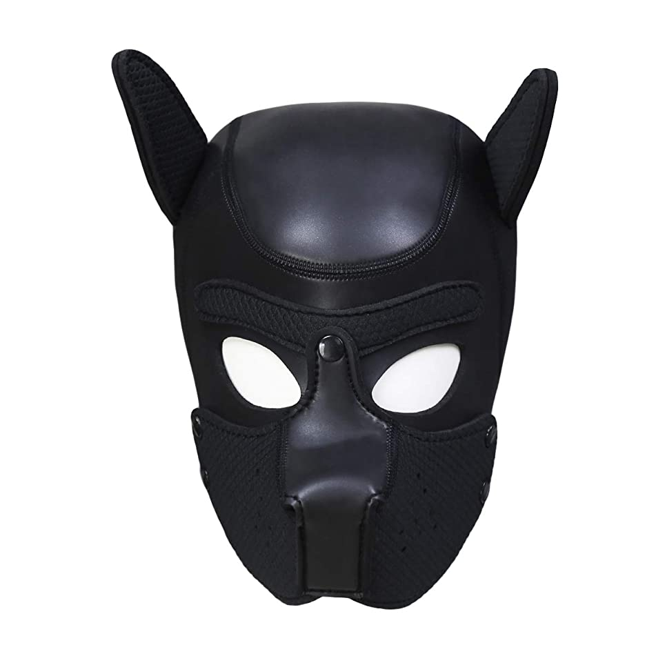 Zhengya Full Face Mask Dog Puppy Hood Leather Helmet Removable Mouth Cosplay Costume Party Props (Large, Black)