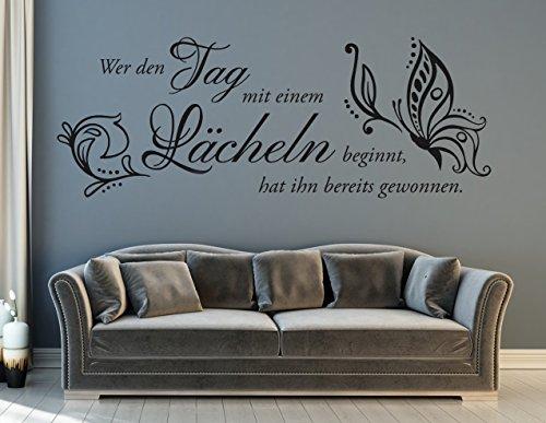 XL tjapalo® s-pkm233 Wandtattoo wer den tag mit einem lachen beginnt Wandtattoo Wohnzimmer Sprüche lächeln (B130xH39cm)