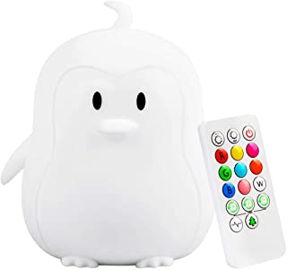 Yuede Kids Night Light (Silicone Light) USB Rechargeable Penguin Night Light, 9 Color Change Sensitive Tap Control for Baby/Kids/Adult Bedroom, Remote Control