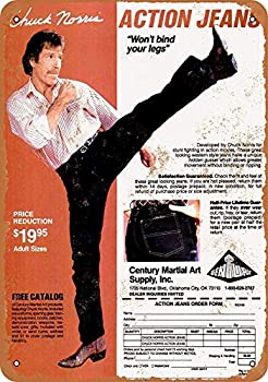 Treasun 12 x 16 Inches Metal Sign - 1980 Chuck Norris Action Jeans - Vintage Look Sign bar Cafe,Home Wall Decoration