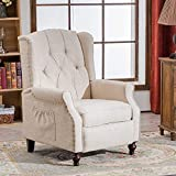 RELAXIXI Wingback Recliner Armchair, Massage Heated Recliner Chair with Remote Control, Accent Tufted Push Back Recliner - Beige