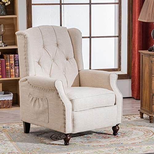 RELAXIXI Wingback Recliner Armchair, Massage Heated Recliner Chair with Remote Control, Accent Tufted Push Back Recliner (Beige)