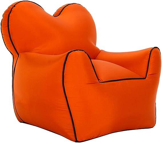 BAIJ Sofa Gonflable d'air de Chaise Longue, portatif et Se Pliant, Sofa idéal pour la Plage de Lakeside d'arrière-Cour voyageant des Pique-niques de Camping et des Festivals de Musique,Orange,grand