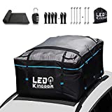 LEDKINGDOMUS Rooftop Cargo Bag, Waterproof 19cft Truck Pickup Cargo Carrier, 600D with PVC Coating Roof Top Bag for All Cars with/Without Rack, Includes 6 Bungee Hooks/6 Door Hooks/Anti-Slip Mat/Lock