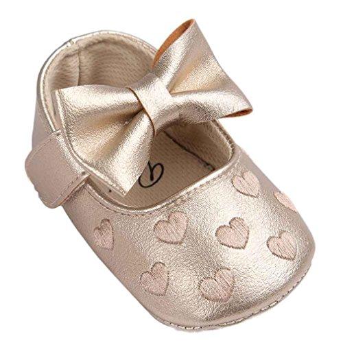 kingko® bébé Fille Chaussures en Cuir Sneaker Anti-dérapant Souple Sole Toddlerr avec Bowknot (6~12 Mois, Or)