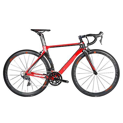 Yinhai Carbon Rennrad, T10pro 18K Carbon Faserrahmen 700C Rennrad Mit 22-Gang Ultraleichtfahrrad,Black+red 50cm