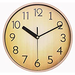 JN Home Wall Clock ?Silent Retro Round Classic 10 Inch Wood Brown Clock for Office & School