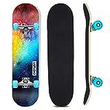 Sumeber Skateboard Komplettes Double Kick Skateboard mit blinkenden 31 Zoll Skateboards für Anfänger, Kinder, Jugendliche und Erwachsene (Nebula)