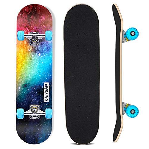 Sumeber Skateboard 31 Zoll Komplettboard für Anfänger mit Blinklicht Räder 7-lagigem Double Kick Skateboard Geburtstagsgeschenk für Kinder Teenager und Erwachsene
