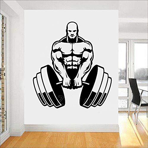 mlpnko Vinyl Wandtattoo Erwachsenen Bodybuilding Kunst Aufkleber Fitnessstudio Fitness Wanddekoration Muskel Mann 93X100cm