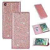 Xyamzhnn Funda telefónica para iPhone 8/7 Ultrathin Glitter Magnético Horizontal Flip CUBIERTE Cubierta DE TELÉFONO con SOSTENER Y Ranuras DE Tarjetas (Color : Rose Gold)
