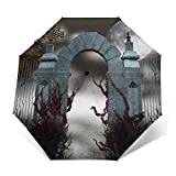 Paraguas de puerta gótica compacto a prueba de viento para