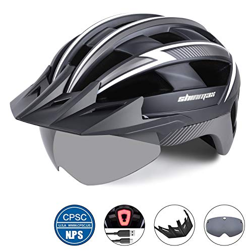 Shinmax Bike Helmet,Bicycle Helmet with USB Rechargeable LED Light CPSC Certified Adult Cycling Helmet/Adjustable Size Detachable Visor&Removable Magnetic Goggles for Men Women Road Helmet SM-B23