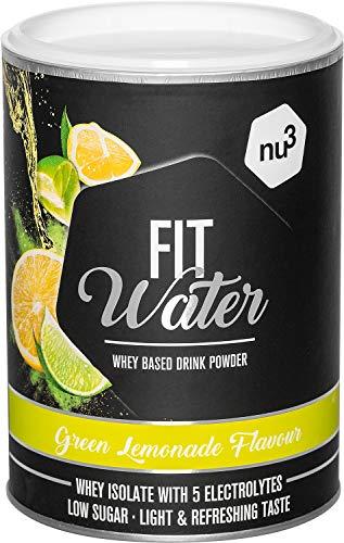 nu3 Protein Wasser Pulver 300 g in Green Lemonade Flavour – mit 21,7 g Iso Whey Protein pro Drink - wasserlösliches Protein mit erfrischend fruchtigem Geschmack – kalorien- und zuckerarm, vegetarisch