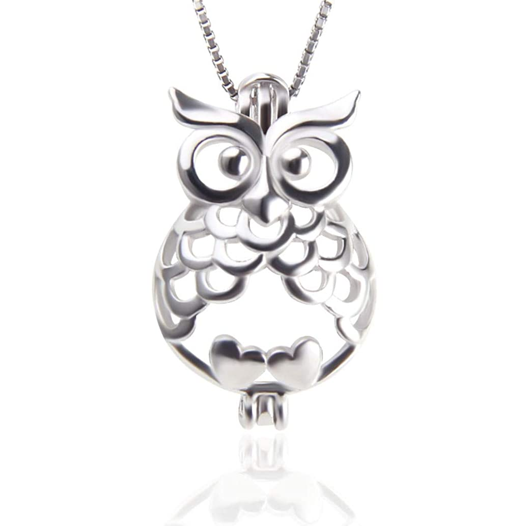 NY Jewelry 925 Sterling Silver Owl Pendants for Pearl, Pearl Cage Locket Pendants for for Women DIY Jewelry Making