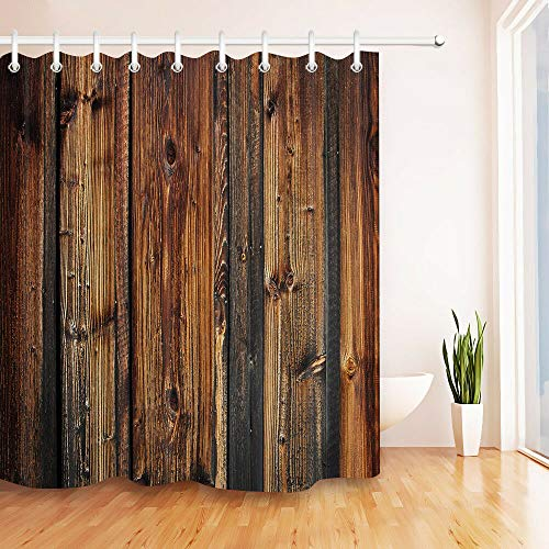 FGHJK Rustikale Holzplanke Zaun Liner Duschvorhang wasserdichte Toilette Dekoration Badezimmer