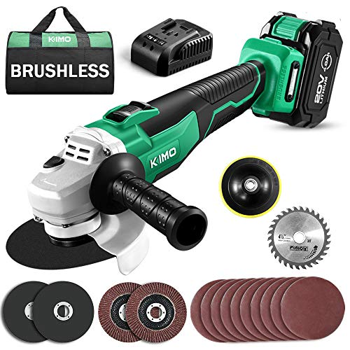 KIMO 20V Cordless Angle Grinder, 4-1/2 Inch, 9000RPM Brushless Motor, w/ 4.0Ah Lithium-Ion Battery & Charger, 2-Position Adjustable Auxiliary Handle, Electric Brake, Cutting Wheels, Grinding Wheels